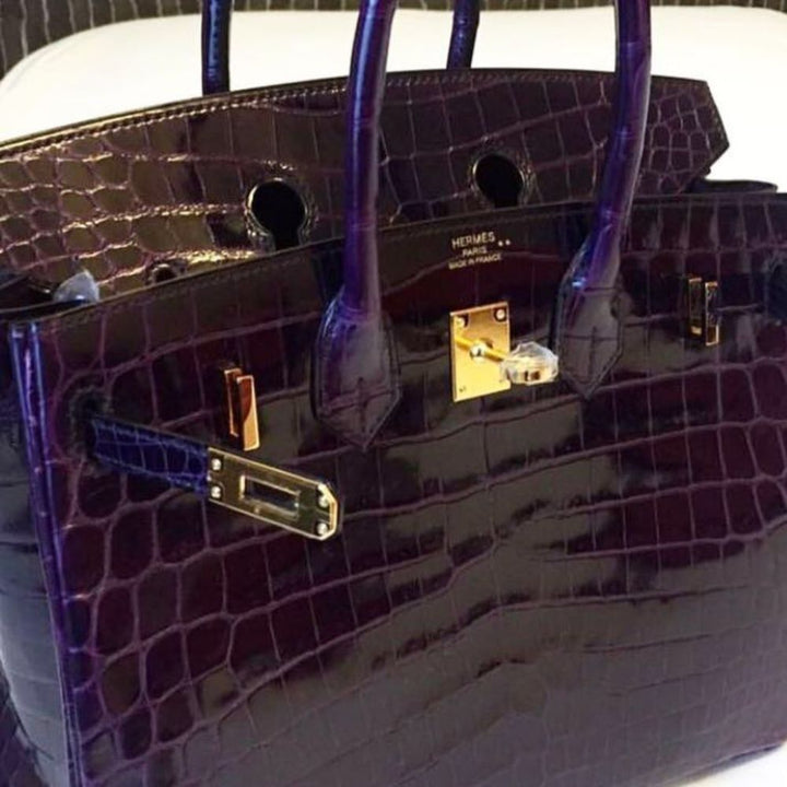 Hermès Birkin 25 Aubergine Crocodile Niloticus Lisse Gold Hardware GHW C Stamp 2018 <!29481533> <!SOLD> - The French Hunter