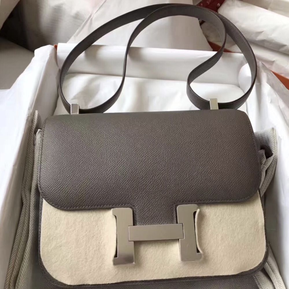 Hermès Constance 24 Gris Etain Epsom Palladium Hardware PHW C Stamp 2018 <!29489493> - The French Hunter