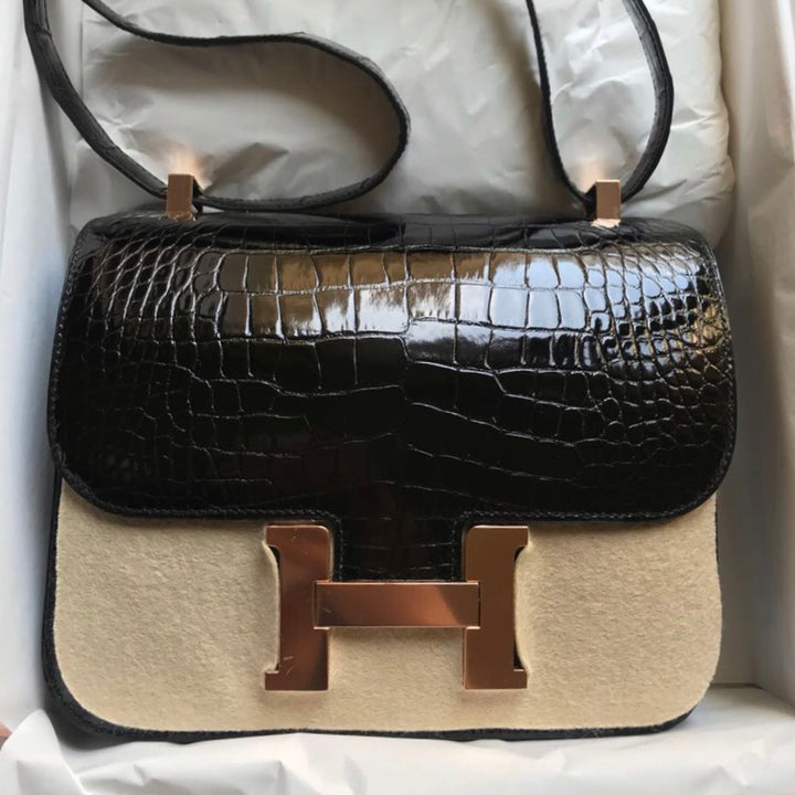 Hermès Constance 24 Noir (Black) Alligator Mississippi Lisse Rose Gold Hardware RGHW C Stamp 2018 <!29513971> <!SOLD> <!SOLD> - The French Hunter