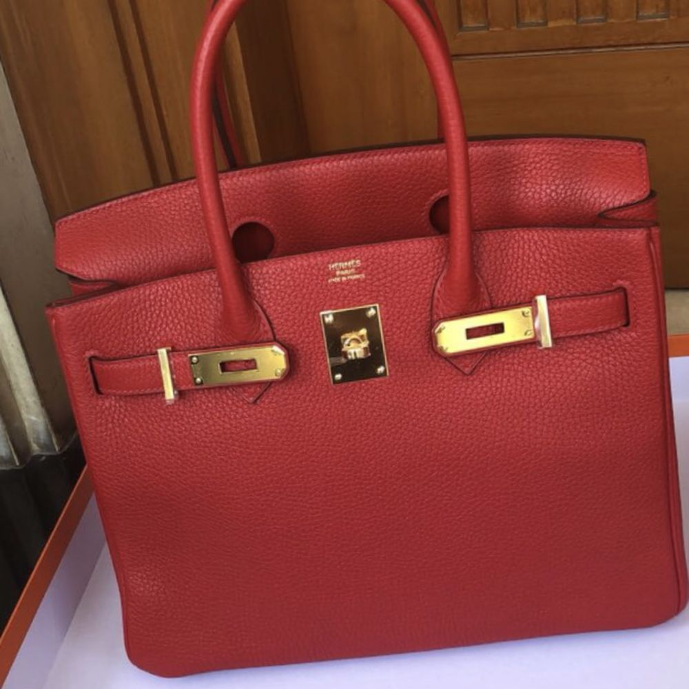 Hermès Birkin 30 Rouge Casaque Clemence Gold Hardware GHW C Stamp 2018 <!29514009> - The French Hunter