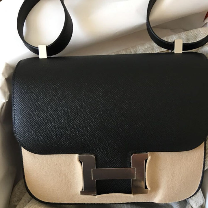 Hermès Constance 24 Noir (Black) Epsom Palladium Hardware PHW C Stamp 2018 <!29632032> <!SOLD> <!SOLD> - The French Hunter