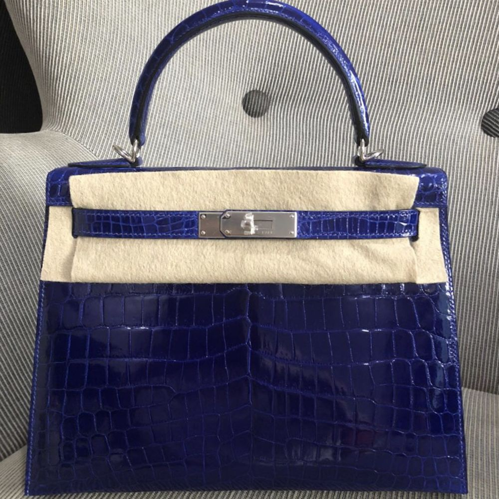 Hermès Kelly 28 Bleu Electrique Crocodile Niloticus Lisse Palladium Hardware PHW C Stamp 2018 <!29691059> <!SOLD> - The French Hunter