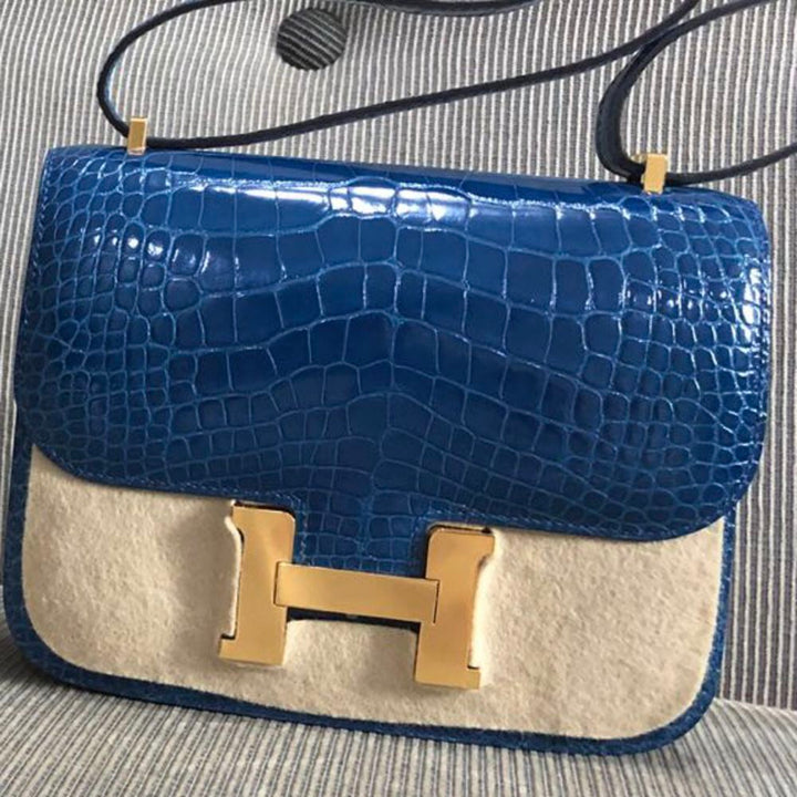 Hermès Constance 18 Mykonos Alligator Mississippi Lisse Gold Hardware GHW A Stamp 2017 <!29691135> - The French Hunter
