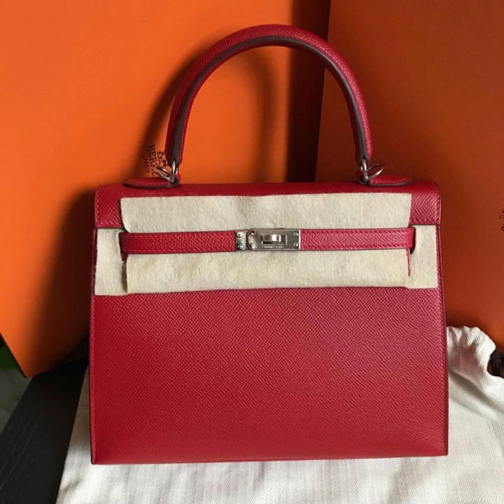 Hermès Kelly 25 Rouge Casaque Sellier Epsom Palladium Hardware PHW C Stamp 2018 <!29700202> - The French Hunter