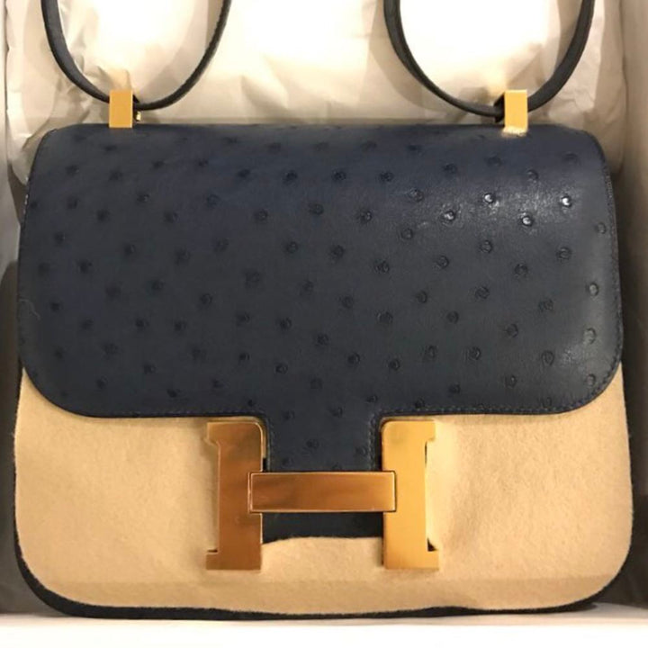 Hermès Constance 24 Bleu de Malte Ostrich Gold Hardware GHW C Stamp 2018 <!29724590> - The French Hunter