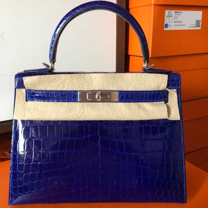 Hermès Kelly 28 Bleu Electrique Crocodile Niloticus Lisse Palladium Hardware PHW C Stamp 2018 <!29808379> - The French Hunter