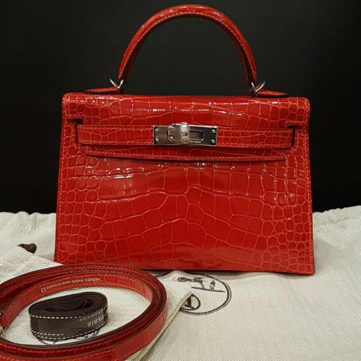 Hermès Kelly 20 Braise Alligator Mississippi Lisse Palladium Hardware PHW A Stamp 2017 <!29873299> <!SOLD> - The French Hunter