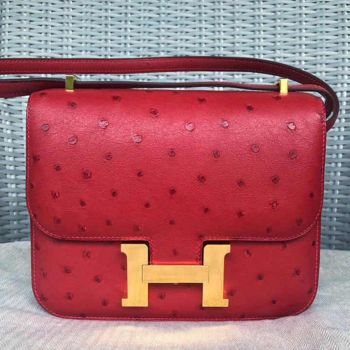 Hermès Constance 18 Rouge Vif Ostrich Gold Hardware GHW A Stamp 2017 <!30041781> - The French Hunter