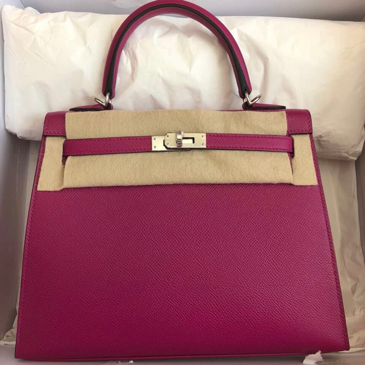 Hermès Kelly 25 Rose Pourpre Sellier Epsom Palladium Hardware PHW C Stamp 2018 <!30046103> - The French Hunter