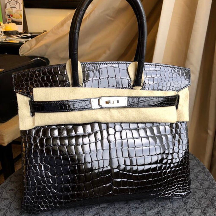 Hermès Birkin 30 Noir (Black) Crocodile Porosus Lisse Palladium Hardware PHW A Stamp 2017 <!30074327> - The French Hunter