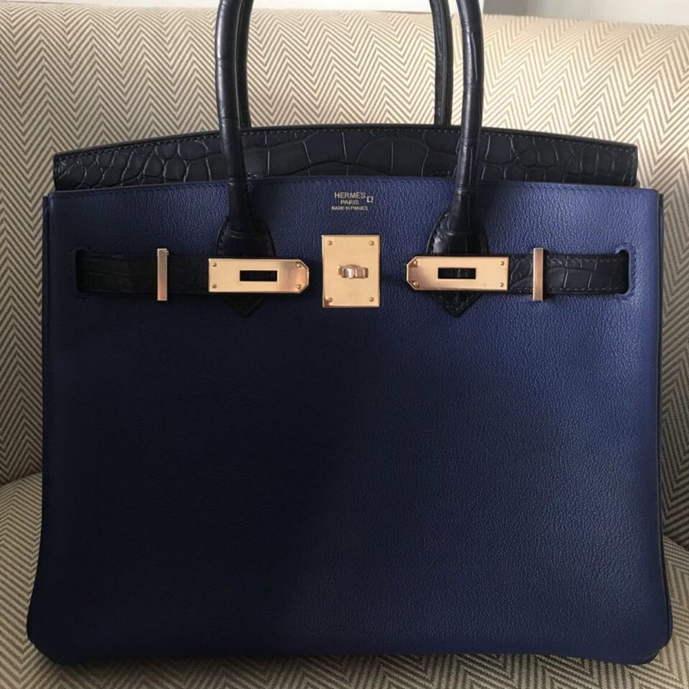 Hermès Birkin Limited Edition 30 Bleu Saphir/Bleu Marine Touch Crocodile Niloticus Matte Rose Gold Hardware RGHW C Stamp 2018 <!30074591> - The French Hunter