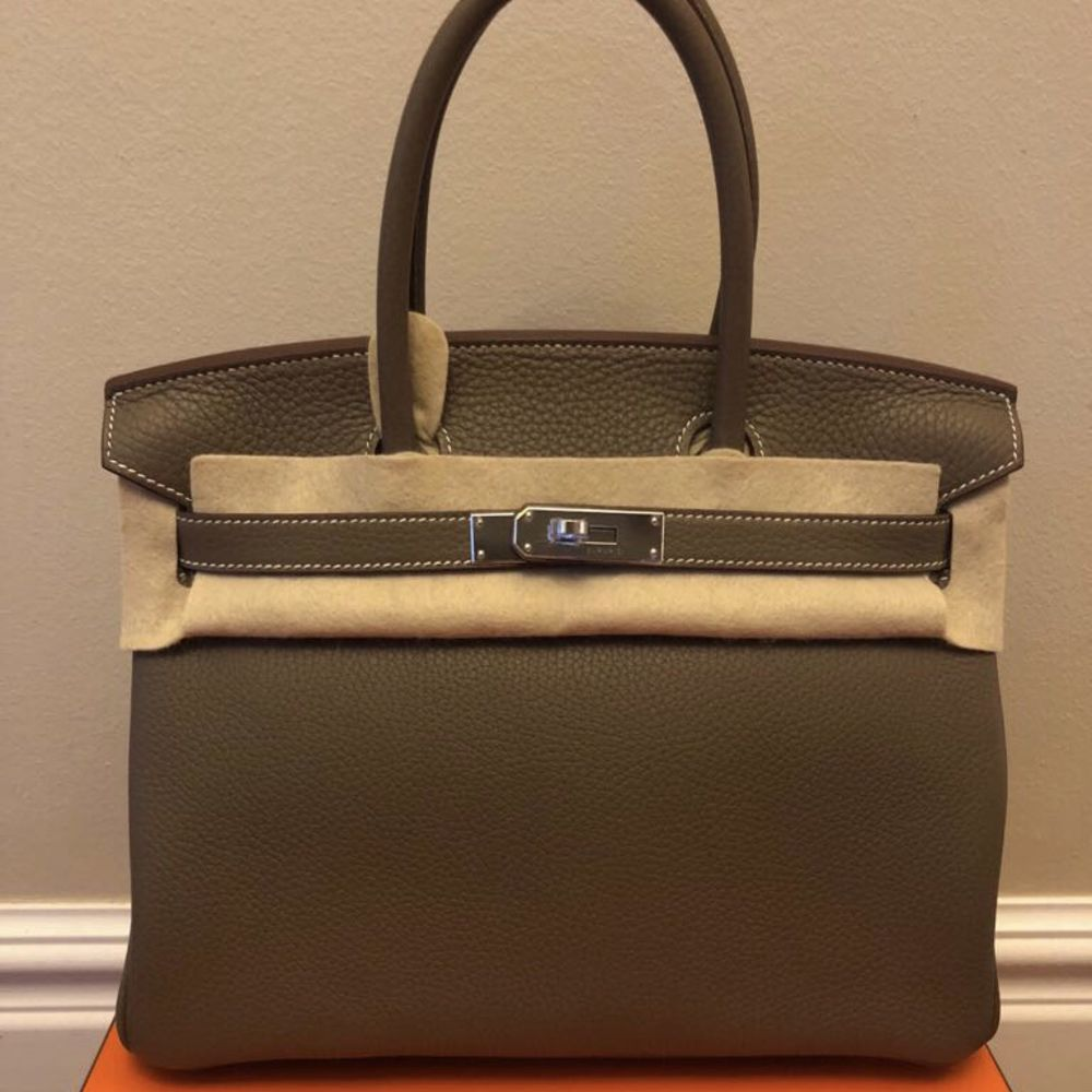 Hermès Birkin 30 Etoupe Taurillon Clemence Palladium Hardware PHW C Stamp 2018 <!30126612> <!SOLD> <!SOLD> <!SOLD> - The French Hunter