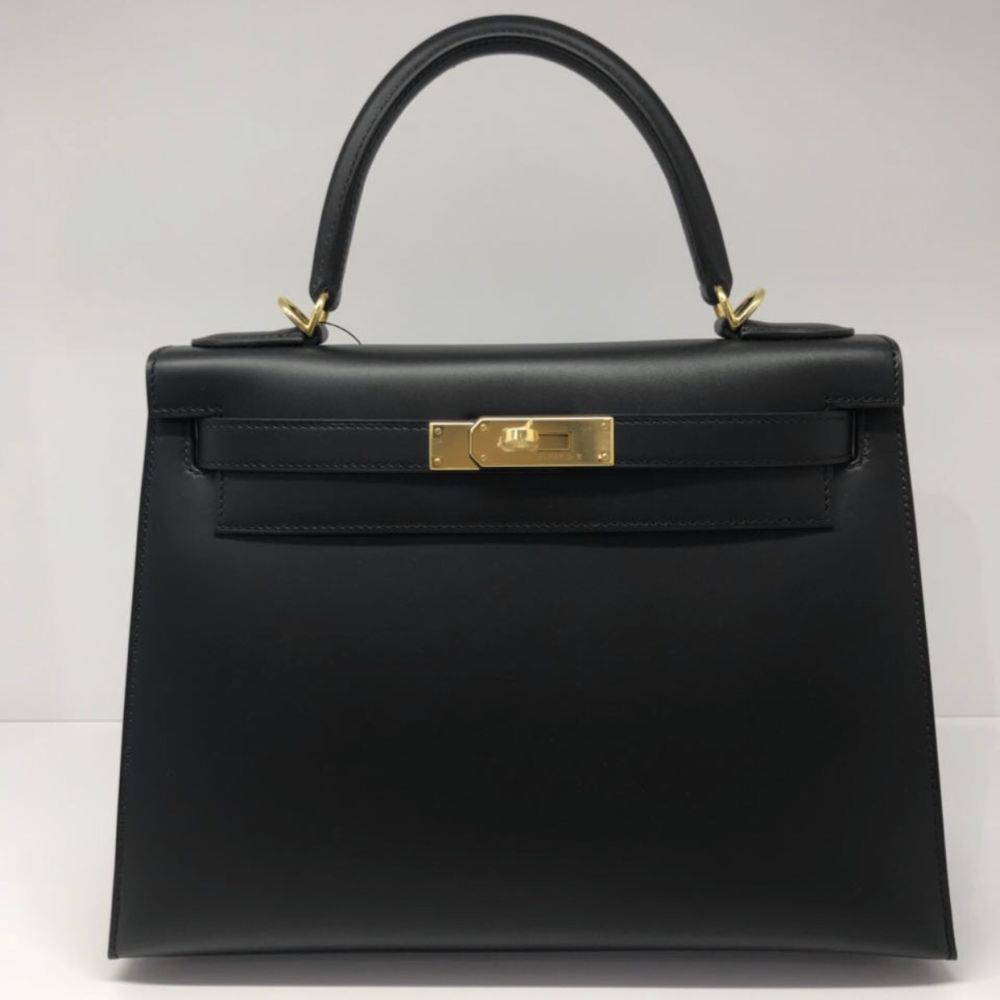 Hermès Kelly 28 Noir (Black) Sellier Sombrero Gold Hardware GHW C Stamp 2018 <!30175467> <!SOLD> - The French Hunter