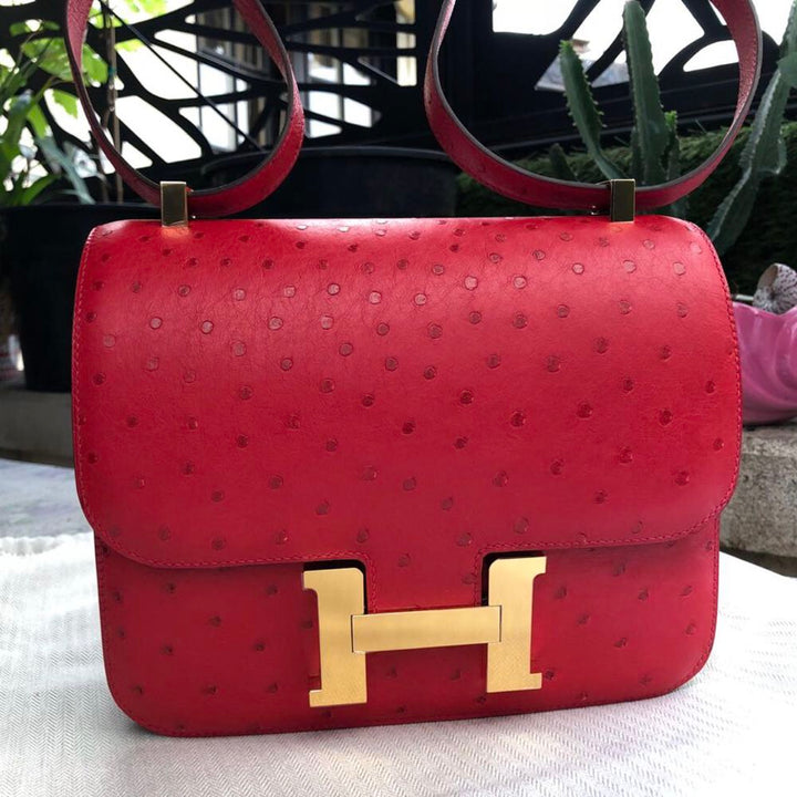 Hermès Constance 24 Rouge Vif Ostrich Gold Hardware GHW C Stamp 2018 <!30227468> - The French Hunter