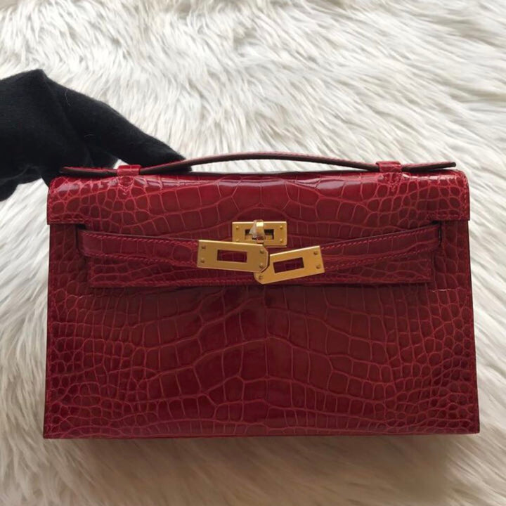 f120cf13c3e3 Hermès Kelly Pochette Braise Crocodile Niloticus Lisse Gold Hardware GHW C  Stamp 2018