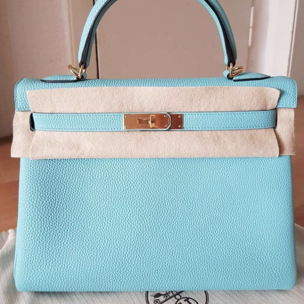 Hermès Kelly 32 Bleu Atoll Togo Gold Hardware GHW A Stamp 2017 <!30351529> - The French Hunter