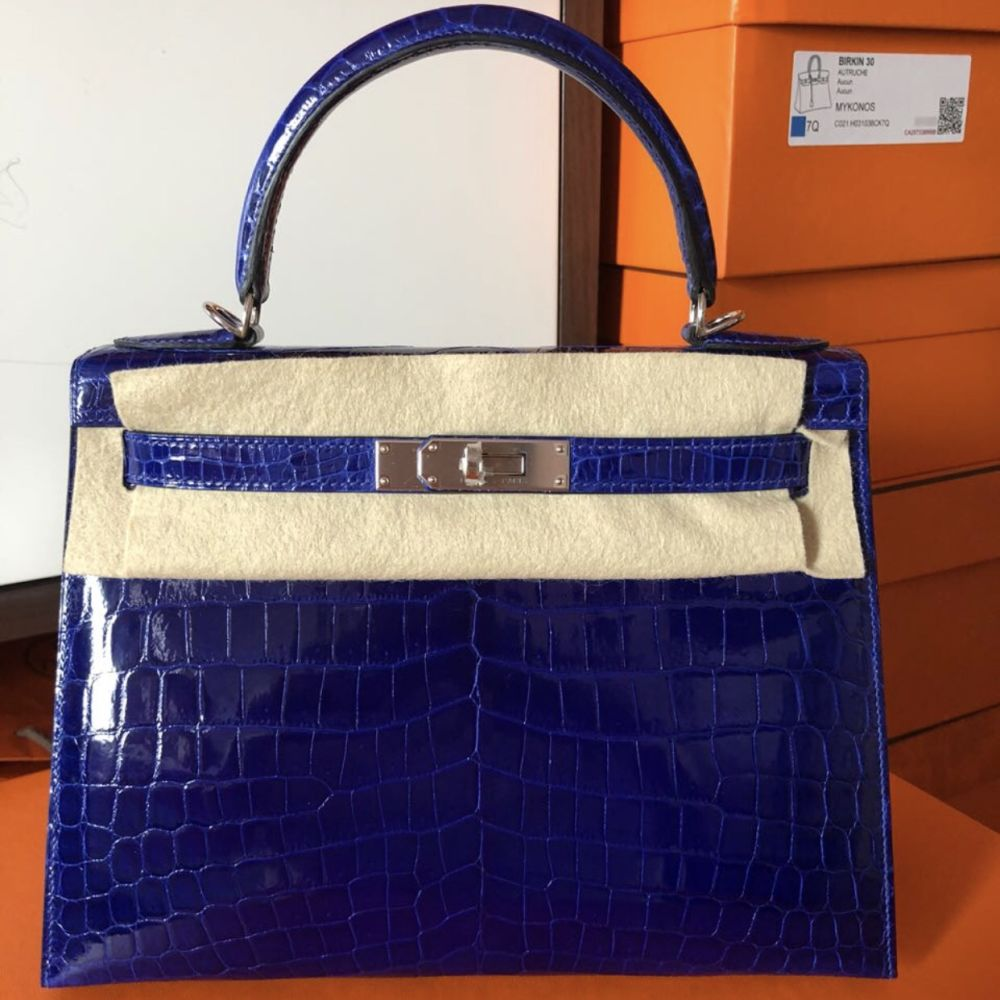 Hermès Kelly 28 Bleu Electrique Sellier Crocodile Niloticus Lisse Palladium Hardware PHW C Stamp 2018 <!30352145> <!SOLD> - The French Hunter