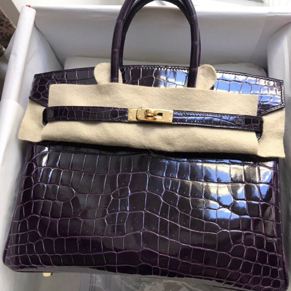 Hermès Birkin 25 Aubergine Crocodile Niloticus Lisse Gold Hardware GHW C Stamp 2018 <!30352226> - The French Hunter