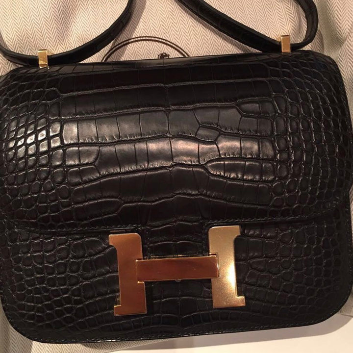 Hermès Constance 18 Noir (Black) Alligator Mississippi Matte Gold Hardware GHW A Stamp 2017 <!30353172> - The French Hunter