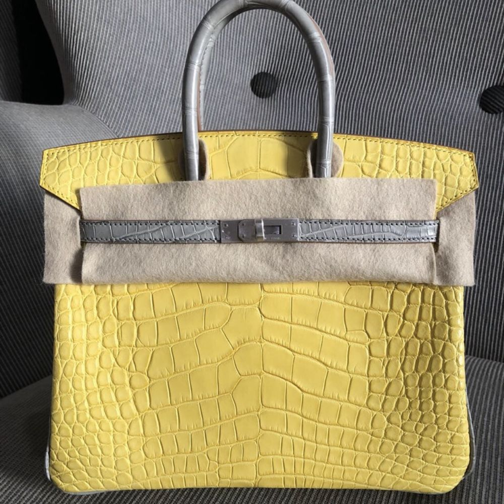 Hermès Birkin HSS 25 Mimosa/Gris Perle Alligator Mississippi Matte Brushed Palladium Hardware BPHW A Stamp 2017 <!30358212> - The French Hunter