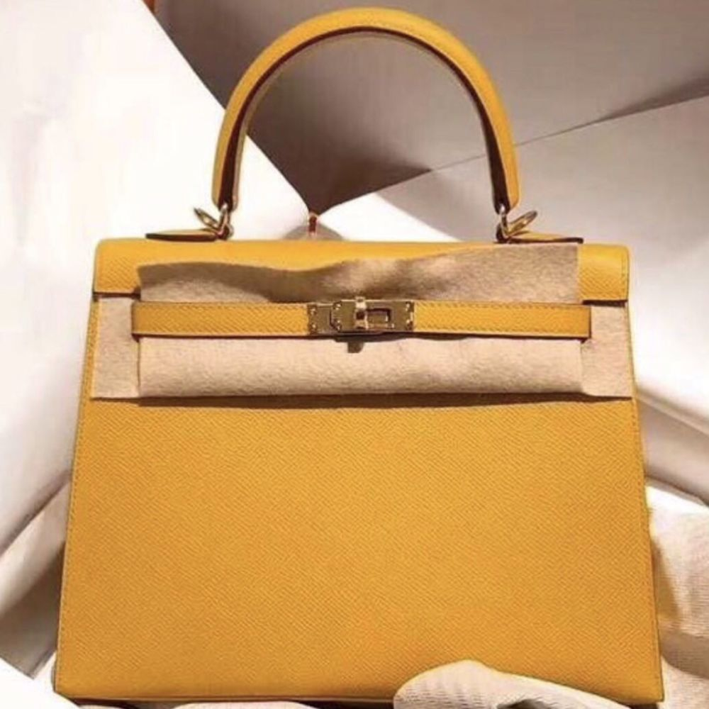 Hermès Kelly 25 Ambre Sellier Epsom Gold Hardware GHW C Stamp 2018 <!30358294> - The French Hunter