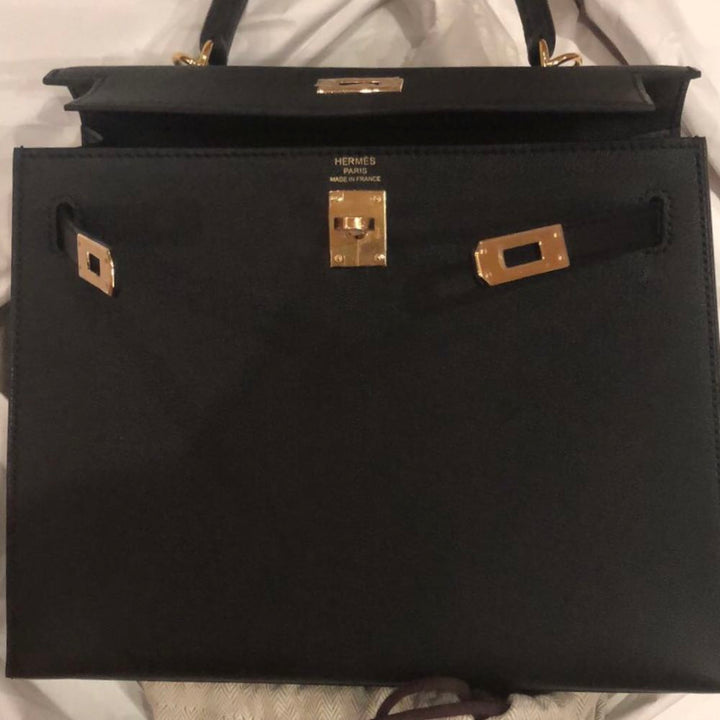 Hermès Kelly 25 Noir (Black) Chevre Chandra Gold Hardware GHW C Stamp 2018 <!30443053> <!SOLD> - The French Hunter