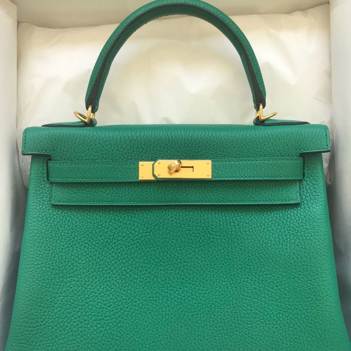 Hermès Kelly 28 Vert Vertigo Taurillon Clemence Gold Hardware GHW C Stamp 2018 <!30445836> - The French Hunter