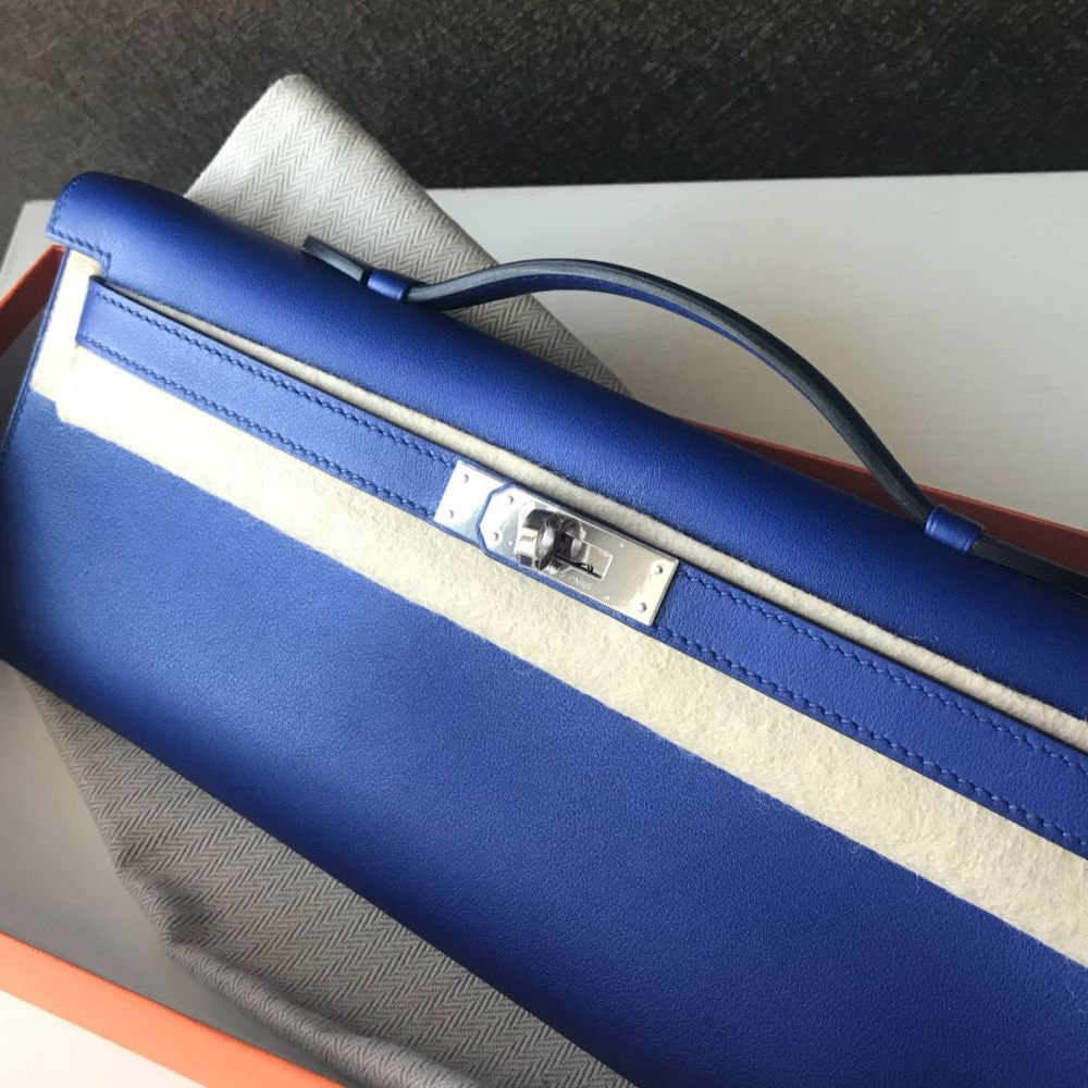 Hermès Kelly Cut Bleu Electrique Swift Palladium Hardware PHW A Stamp 2017 <!30574997> <!SOLD> - The French Hunter