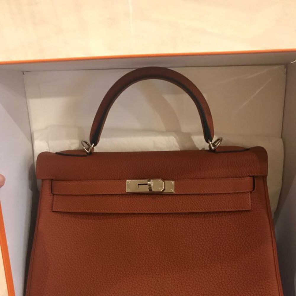 Hermès Kelly 32 Cuivre Togo Palladium Hardware PHW A Stamp 2017 <!30575274> - The French Hunter