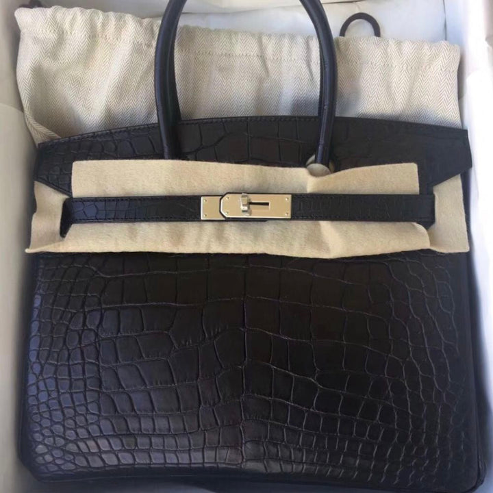 Hermès Birkin 30 Noir (Black) Alligator Mississippi Matte Palladium Hardware PHW C Stamp 2018 <!30676740> <!SOLD> - The French Hunter