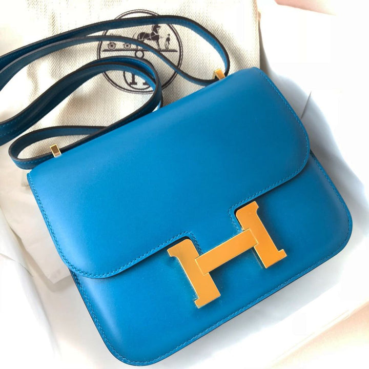Hermès Constance 18 Bleu Izmir Tadelakt Gold Hardware GHW C Stamp 2018 <!30747173> - The French Hunter
