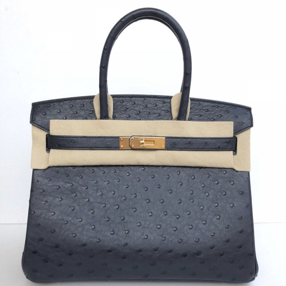 Hermès Birkin 30 Bleu Indigo Ostrich Gold Hardware GHW C Stamp 2018 <!30747619> - The French Hunter
