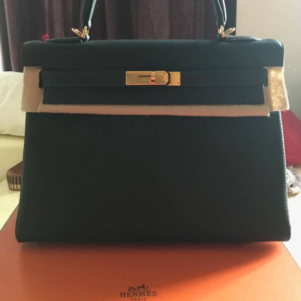 Hermès Kelly 32 Vert Fonce Togo Gold Hardware GHW C Stamp 2018 <!30968166> <!SOLD> - The French Hunter