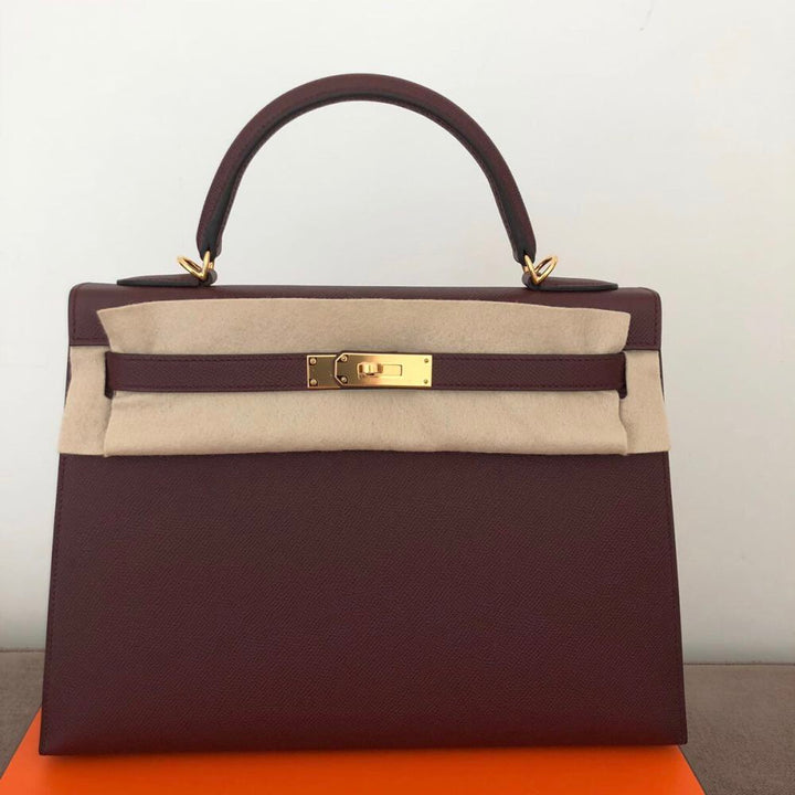 651dfd75f5a6 Hermès Kelly 32 Bordeaux Sellier Epsom Gold Hardware GHW A Stamp 2017