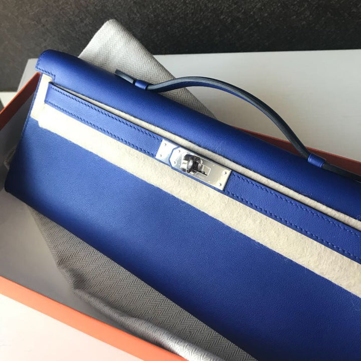 Hermès Kelly Cut Bleu Electrique Swift Palladium Hardware PHW C Stamp 2018 <!31256410> - The French Hunter