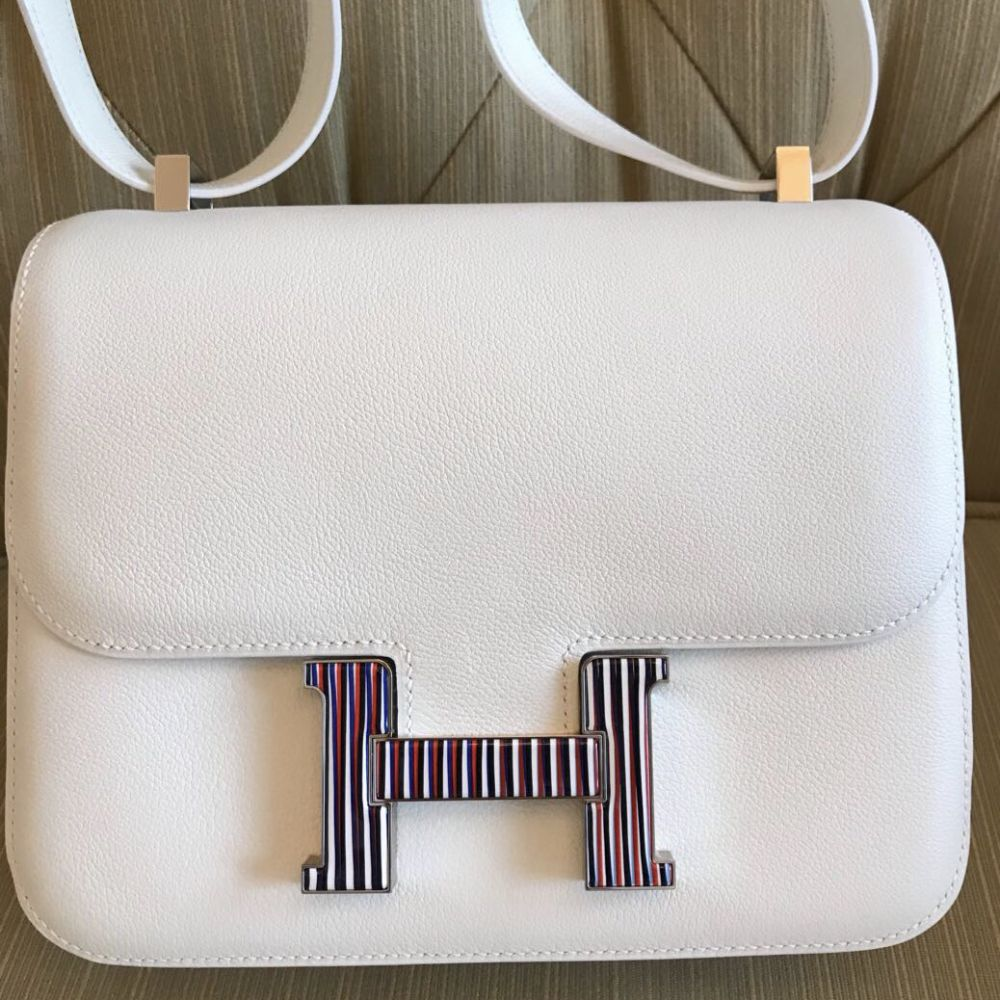Hermès Constance Limited Edition 24 Blanc (White) Optique Evercolor Enamel Hardware ENA C Stamp 2018 <!31266091> - The French Hunter