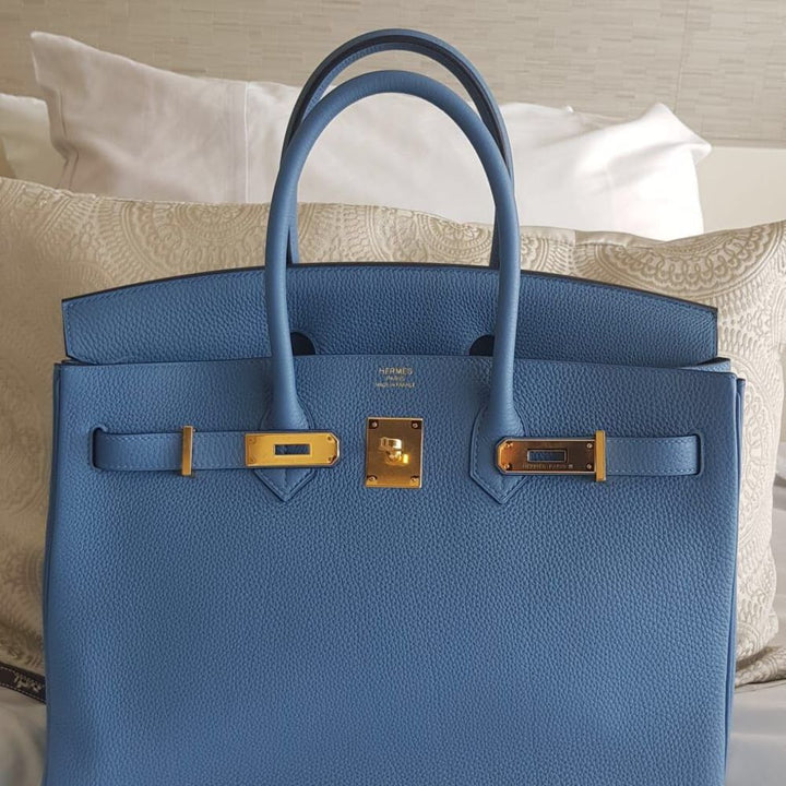 Hermès Birkin 35 Bleu Azur Togo Gold Hardware GHW C Stamp 2018 <!31273380> - The French Hunter