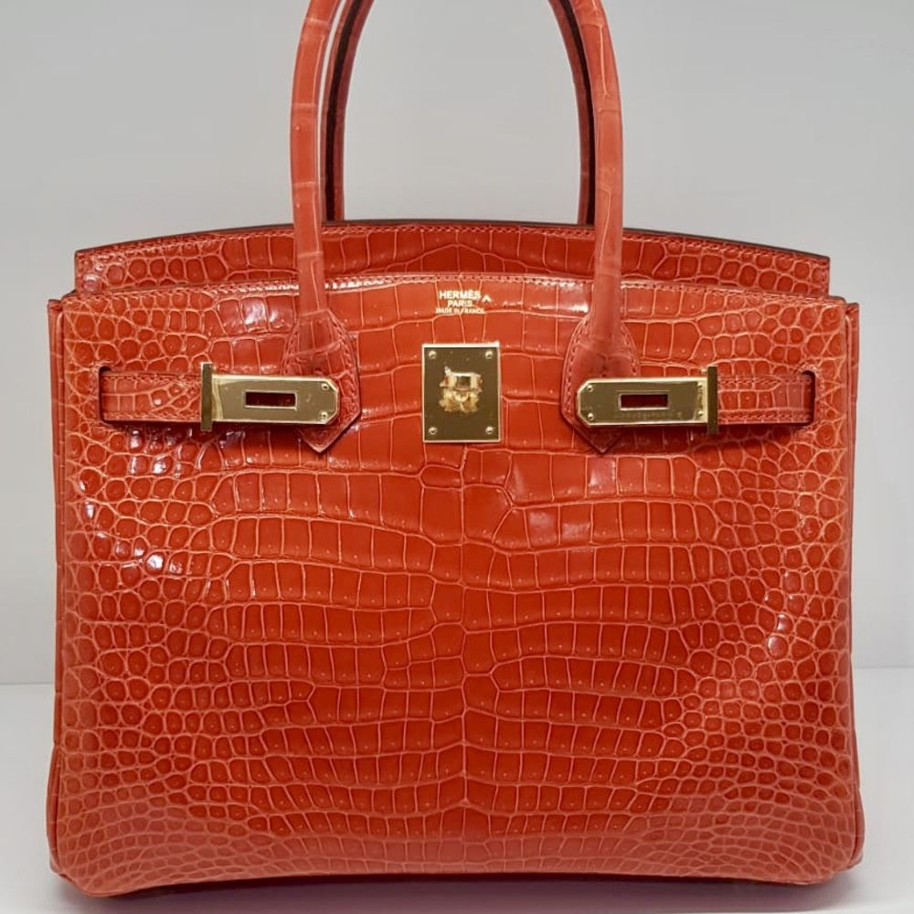 Hermes Birkin 30 Orange Poppy Crocodile Porosus Lisse Gold Hardware GHW A Stamp 2017 - The French Hunter