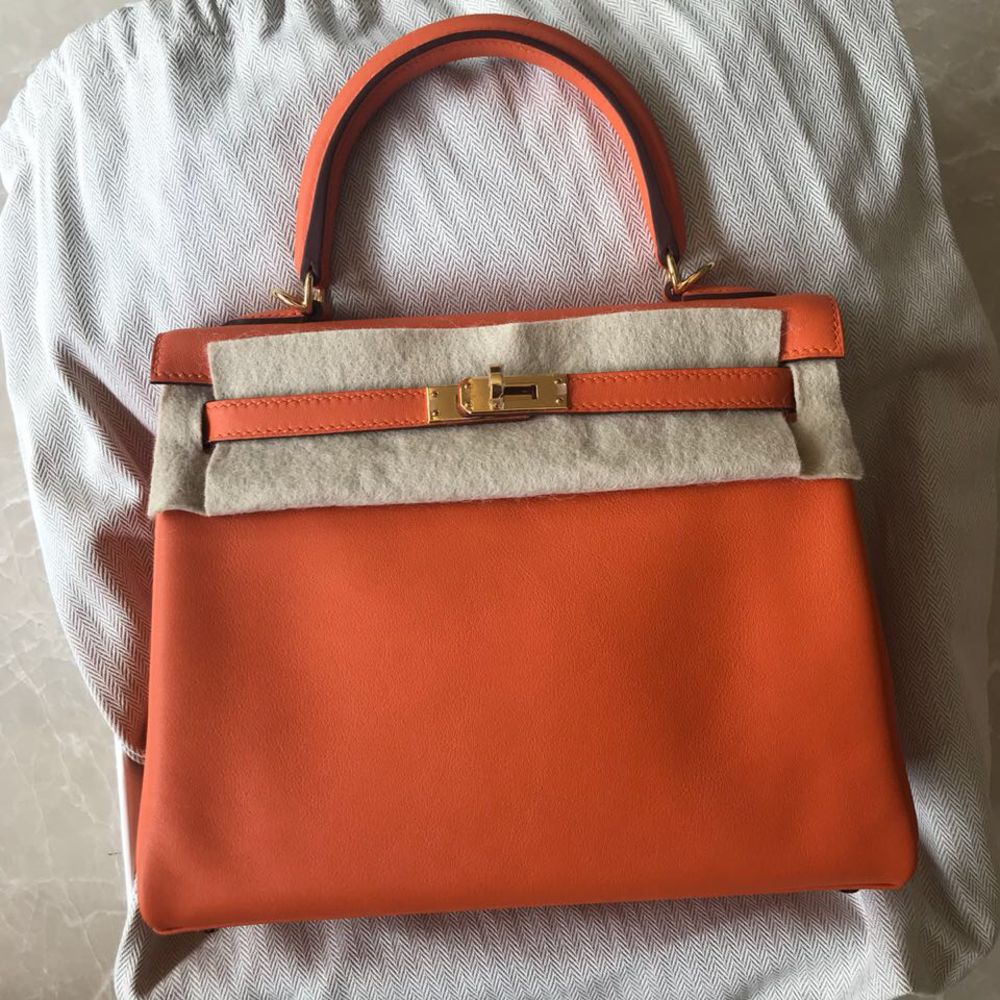 Hermes Kelly 25 Orange Swift Gold Hardware GHW A Stamp 2017 - The French Hunter