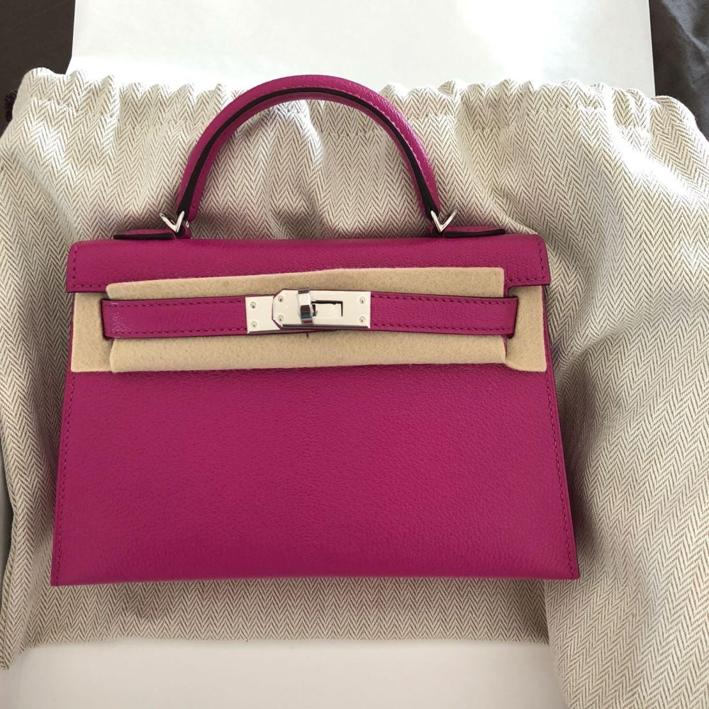 Hermes Kelly 20 Rose Pourpre Chevre Mysore Palladium Hardware PHW C Stamp 2018 - The French Hunter