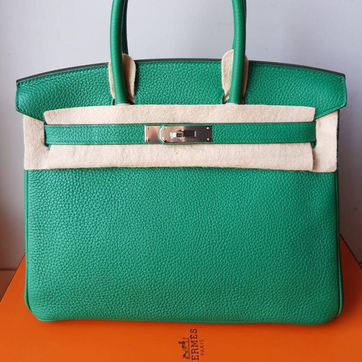 Hermes Birkin 30 Vert Vertigo Taurillon Clemence Palladium Hardware PHW A Stamp 2017 - The French Hunter
