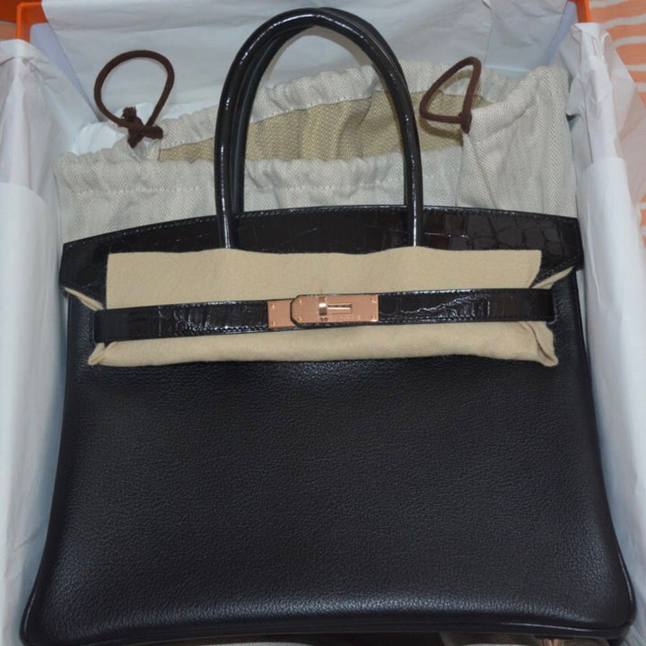 22970ad37d Hermes Birkin Limited Edition 30 Noir (Black) Touch Crocodile Niloticus  Lisse Rose Gold Hardware