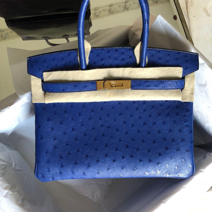 Hermes Birkin 30 Bleu Saphir Ostrich Gold Hardware GHW C Stamp 2018 - The French Hunter