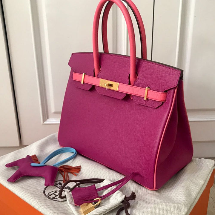 Hermès Birkin HSS 30 Rose Pourpre/Rose Azalee Epsom Brushed Gold Hardware BGHW C Stamp 2018 - The French Hunter