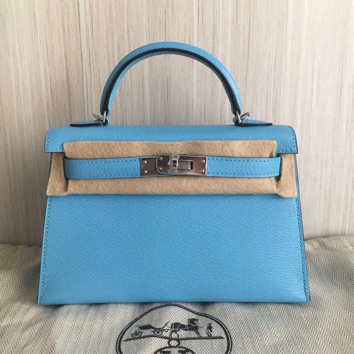 Hermès Kelly 20 Celeste Sellier Chevre Mysore Palladium Hardware PHW C Stamp 2018 - The French Hunter