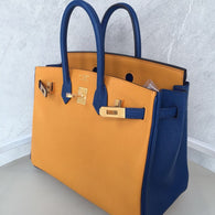Hermes Birkin HSS 25 Jaune d'Or/Bleu Saphir Chevre Mysore Brushed Gold Hardware BGHW X Stamp 2016 - The French Hunter