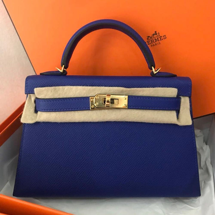 Hermès Kelly 20 Bleu Electrique Sellier Epsom Gold Hardware GHW C Stamp 2018 - The French Hunter