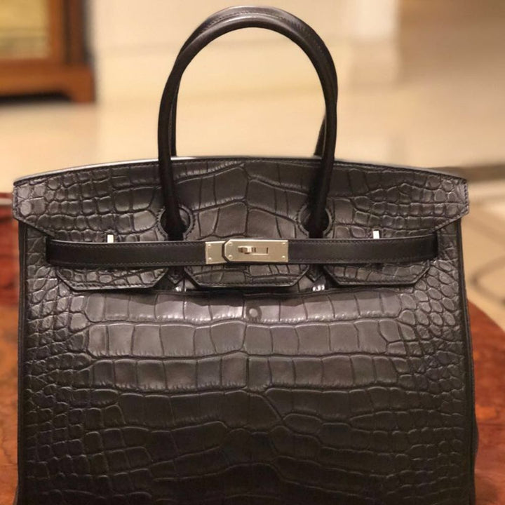 Hermès Birkin Limited Edition 35 Noir (Black) Tri-Leather, Veau Box, Taurillon Clémence Alligator Mississippi Matte Palladium Hardware PHW R Stamp 2013 - The French Hunter