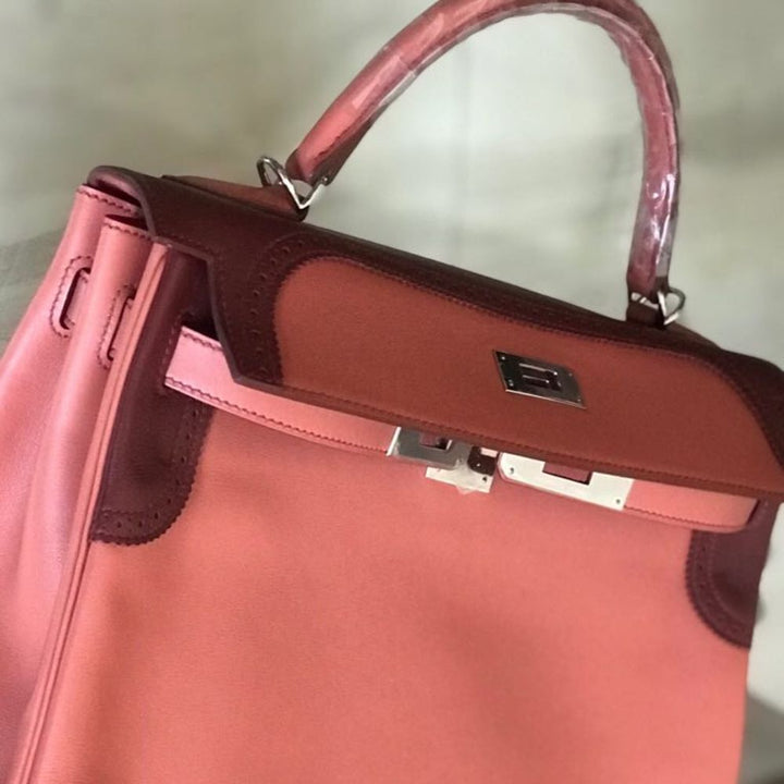 Hermès Kelly Limited Edition 32 Rosy/Rouge H Ghillies Tadelakt Palladium Hardware PHW P Stamp 2011 - The French Hunter