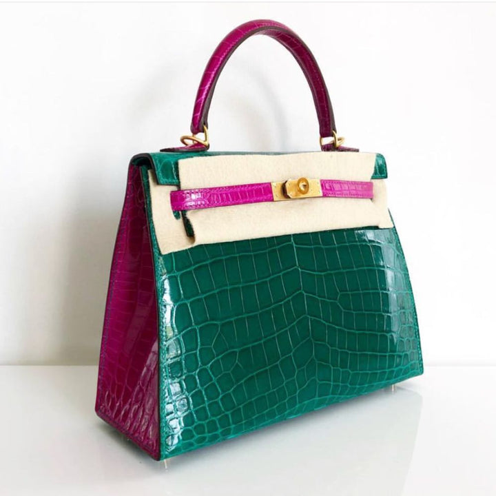 Hermès Kelly HSS 25 Vert Emeraude/Rose Sheherazade Sellier Crocodile Niloticus Lisse Brushed Gold Hardware BGHW C Stamp 2018 - The French Hunter